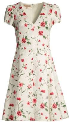 Michael Kors V-Neck Floral Jacquard Dress