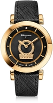Salvatore Ferragamo Minuetto Gold IP Stainless Steel Women's Watch w/Black Saffiano Leather Strap