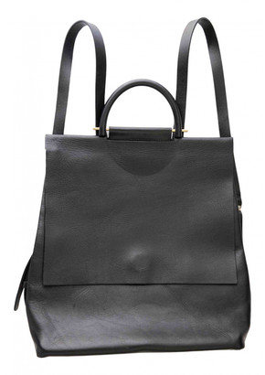 Building Block Black Leather Backpacks