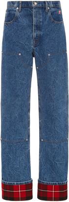Alexander Wang Plaid-Cuff Carpenter Jeans