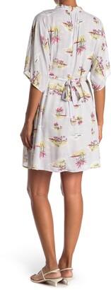 Love Stitch Hawaiian Print Front Tie Dress