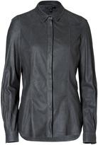 Belstaff Graphite Ramsgate Engineered Leather Shirt