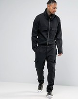 Asos Boiler Suit with Shawl Collar In Washed Black