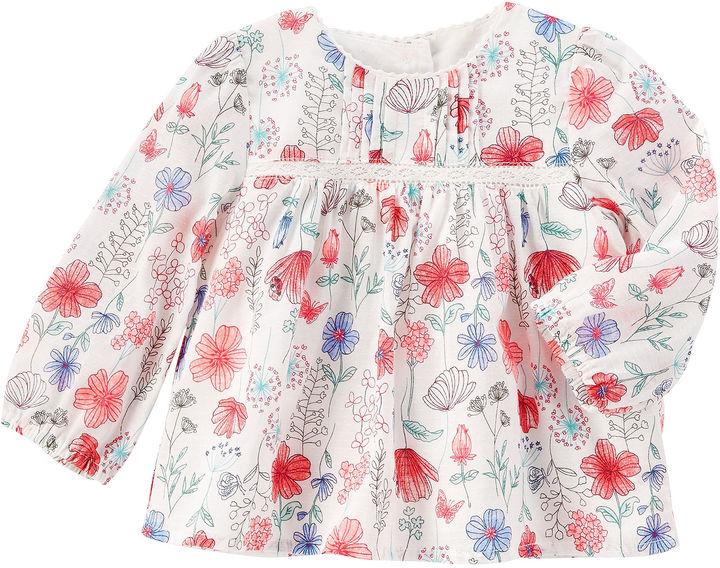 Osh Kosh Oshkosh Long Sleeve Floral Cotton Top - Baby
