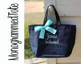 Etsy Personalized Bridesmaid Gift Tote Bags, Personalized Tote, Bridesmaids Gift, Monogrammed Tote
