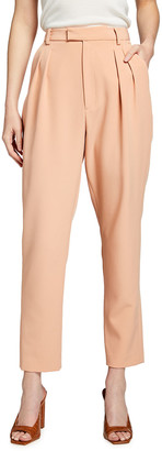 Sally LaPointe Matte Crepe High-Waist Pleated Trousers
