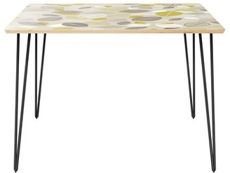 """Wrought Studioâ""""¢ Coaxum Dining Table Wrought Studioa Table Top Boarder Color: Natural, Table Base Color: Black, Table Top Color: Green/Brown"""