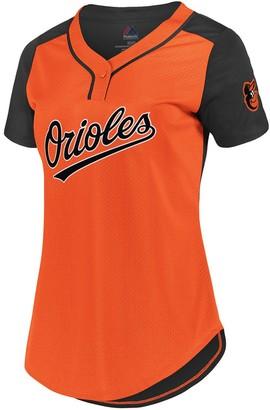 Women's Fanatics Branded Orange/Black Baltimore Orioles Plus Size League Diva Mesh T-Shirt