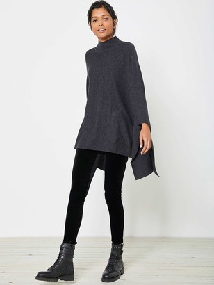 Mint Velvet Knitted Poncho - Charcoal