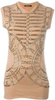 Balmain embellished tank top - women - Cotton/glass - 36