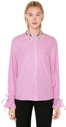 VIVETTA Lurex Lace Collar Striped Poplin Shirt