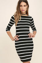 LuLu*s Heir Lines Black Striped Dress