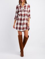 Charlotte Russe Plaid Open-Back Shirt Dress