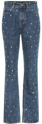 Ganni Embellished high-rise straight jeans