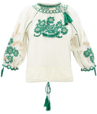 RED Valentino Floral-embroidered Gauze Blouse - Ivory