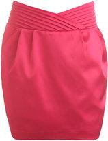 Pleated Satin Tulip Skirt