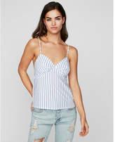 Express bold striped smocked babydoll cami