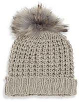 Bari Lynn Kid's Waffle-Knit Fur Pom-Pom Hat