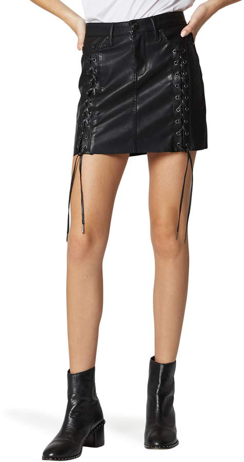 346d4f7b BLANKNYC Lace-Up Faux Leather Skirt