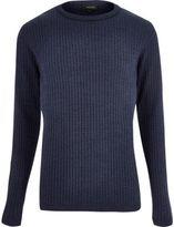 River Island MensBlue ribbed sweater