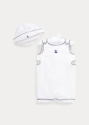 Ralph Lauren Seersucker Shortall & Hat Set