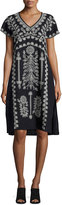 Johnny Was Jolina Easy-Fit Embroidered Linen Dress, Black
