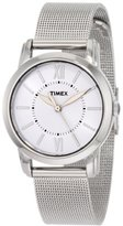 Timex Women's T2N679 Elevated Classics Dress Uptown Chic White Dial Mesh Bracelet Watch