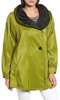 Mycra Pac Designer Wear Women's 'Mini Donatella' Reversible Pleat Hood Packable Travel Coat