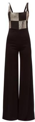 Galvan Ziggy Checkerboard-bodice Wide-leg Satin Jumpsuit - Black Gold