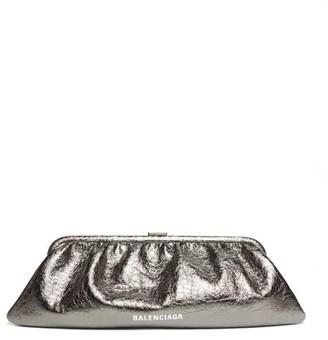 Balenciaga Cloud Xl Leather Cross-body Bag - Silver