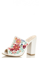 Quiz White Embroidered Mules