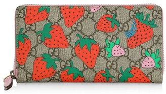 Gucci Strawberry & Monogram Zip Around Leather Continental Wallet