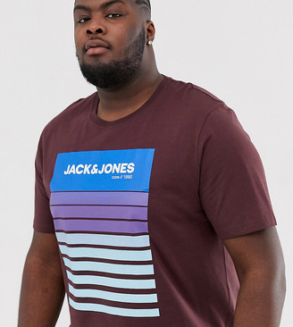 Jack and Jones Core graphic print t-shirt in burgundy-Brown