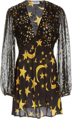 Rixo Lia Star-Print Silk Mini Dress