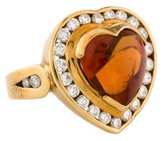 H.Stern 18K Citrine & Diamond Halo Ring