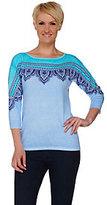 Bob Mackie Bob Mackie's Printed Drop Shoulder Sleeve Knit Sweater