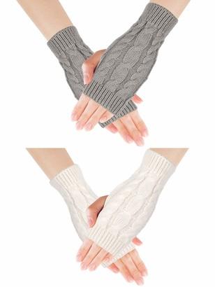 ADAKEL 2 Pairs Womens Fingerless Gloves Winter Warm Knit Crochet Thumbhole Arm Warmers for Women Girls(Free Size white and gray)
