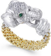 Macy's Diamond (1/5 ct. t.w.) and Emerald Accent Elephant Popcorn Ring in Sterling Silver and 14k Gold-Plated Sterling Silver