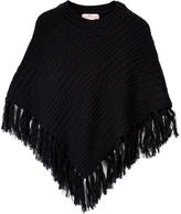 Pink Angel Black Fringe-Hem Cable-Knit Poncho - Toddler & Girls