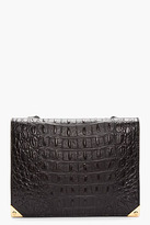 Alexander Wang Black Leather Croc-Embossed Prisma Envelope Shoulder Bag