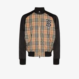 Burberry Monogram Motif Vintage Check Nylon Bomber Jacket
