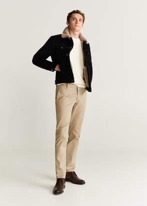 MANGO MAN - Faux shearling-lined corduroy jacket black - S - Men