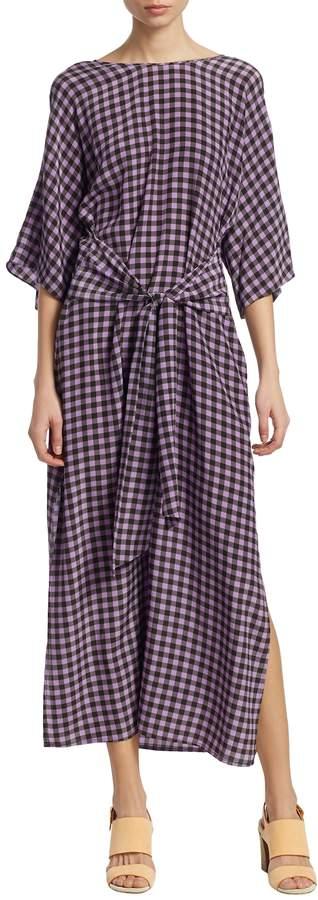 Diane von Furstenberg Women's Tie-Waist Gingham Dress