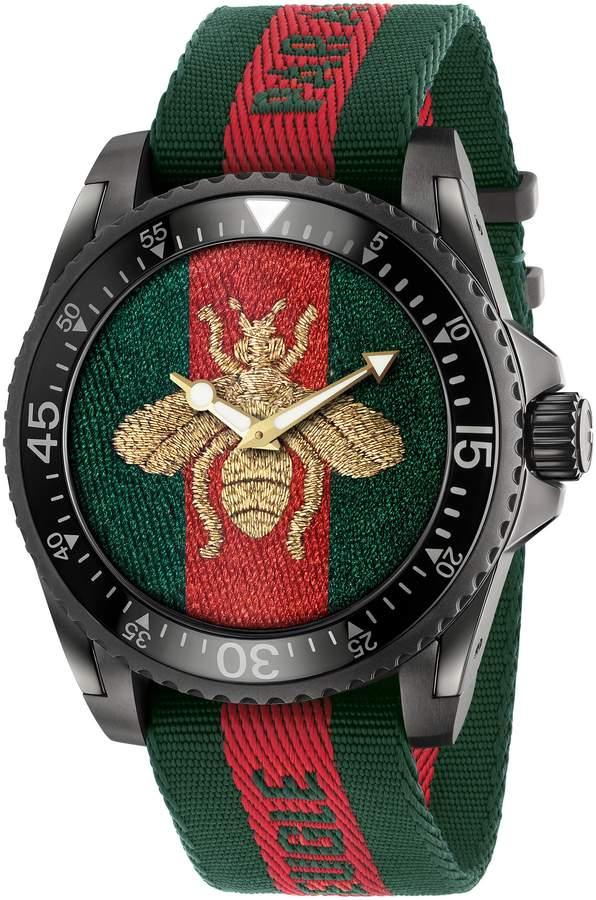 Gucci Bee Nylon Strap Watch, 47mm