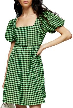 Topshop Puff-Sleeve Gingham Mini Dress