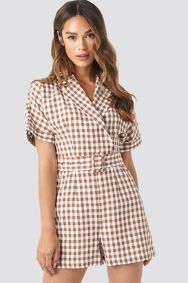 NA-KD Checked Playsuit