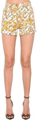 Versace Printed Cotton Blend Denim Shorts