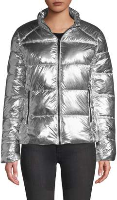 Andrew Marc Quilted Metallic Puffer Jacket