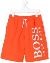 HUGO BOSS TEEN logo print swim shorts