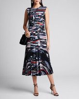 Cédric Charlier Wave-Print Pleated Crepe Dress